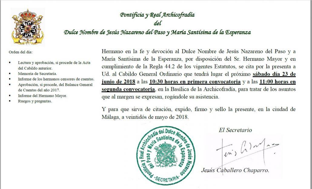 CONVOCATORIA CABILDO GENERAL ORDINARIO