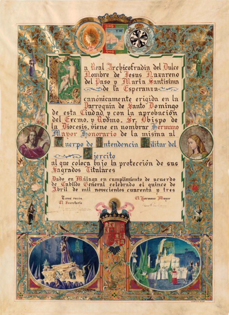 Nombramiento del Real Cuerpo de Intendencia como hermano mayor honorario de la Archicofradía
